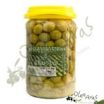 Oleo Aras - Aceitunas partidas en envase de plástico - 750gr